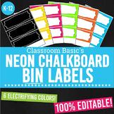 Neon Chalkboard Printable Bin Labels (Editable!) - 6 Colors!