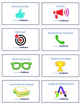 Printable LiveSchool Reward Cards for Students