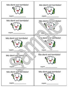 Printable Lost Tooth Notes in French - 2 sizes