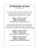 "Printable Lyrics for ""Multiplying Fractions"" Original Song"