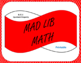Printable Mad Lib Math Activity-Quotient Property of Exponents (8EE1)