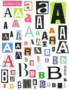 Package of Printable Magazine Cut Out Words Letters and Phrases