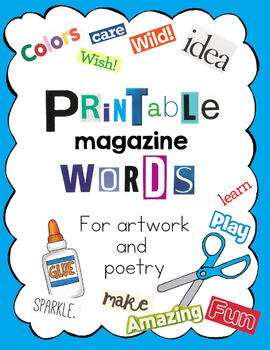 magazine letters and words big package by art is basic tpt