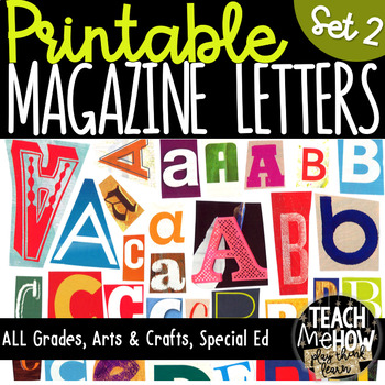 Printable Magazine Letter Cutouts, Set 2, Alphabet a-z: Word Work, Literacy