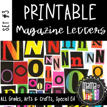 Printable Magazine Letter Cutouts, Set 3, Alphabet a-z: Word Work, Literacy