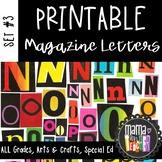 Printable Magazine Letter Cutouts, Set 3, Alphabet a-z: Word Work, Literacy