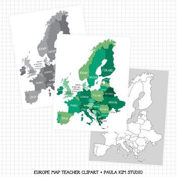 Map of europe by paula kim studio teachers pay teachers map of europe sciox Gallery