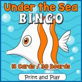 Ocean Animals BINGO & Memory Matching Card Game Activity