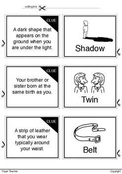 Printable Match up 20 clues of words with cute hand drawing picture