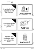 Printable Match up 20 clues of words with cute hand drawin