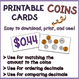 Printable Matching Coins Cards