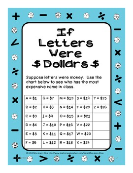 Printable Math Addition Activity - If Letters Were Dollars