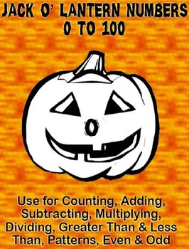 Printable Math Assorted Activities - Jack O' Lantern Numbers 0 to 100 B&W