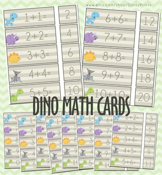 Printable Math Cards with Dinosaurs
