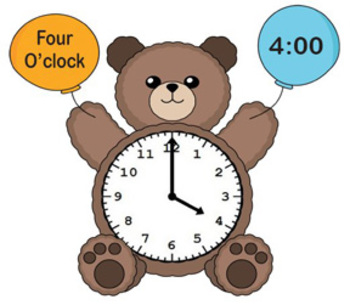 Printable Math Center File Folder Game Bear Time - Telling Time to the Hour