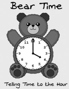 Printable Math Center File Folder Game Bear Time - Telling Time to the Hour Gray