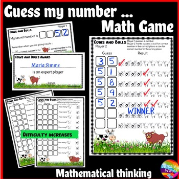 Printable Math Center Game COWS and BULLS Makes Students THINK Logically!
