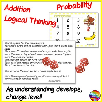 Printable Math Center Game PROBABILITY Logical Thinking Mental ADDITION