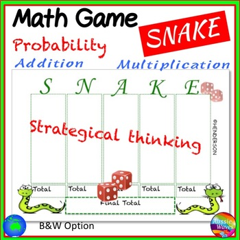 Printable Math Center Game SNAKE! Mental ADDITION MULTIPLICATION and PROBABILITY
