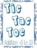 Printable Math Center Tic Tac Toe Addition Plus 0 to Plus 10 File Folder Game