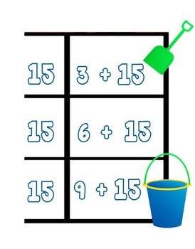 Printable Math Center Tic Tac Toe Addition Plus 15 File Folder Game
