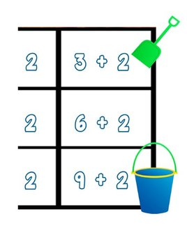 Printable Math Center Tic Tac Toe Addition Plus 2 File Folder Game