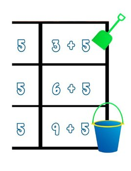 Printable Math Center Tic Tac Toe Addition Plus 5 File Folder Game