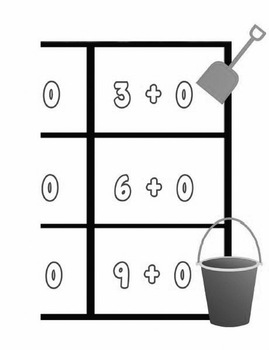 Printable Math Center Tic Tac Toe Addition Plus 0 File Folder Game Gray