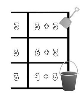 Printable Math Center Tic Tac Toe Addition Plus 0 to Plus 10 File Folder Game BW