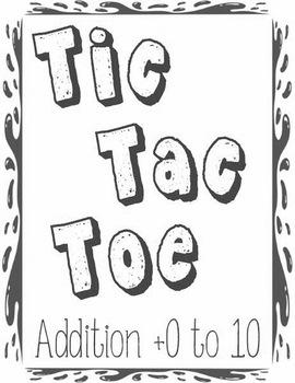 Printable Math Center Tic Tac Toe Addition Plus 0 to Plus