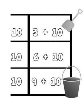 Printable Math Center Tic Tac Toe Addition Plus 10 File Folder Game Gray