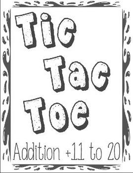 Printable Math Center Tic Tac Toe Addition Plus 11 to Plus 20 File Folder Game