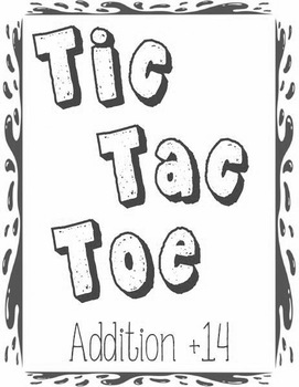 Printable Math Center Tic Tac Toe Addition Plus 14 File Folder Game Gray