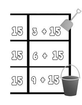 Printable Math Center Tic Tac Toe Addition Plus 15 File Folder Game Gray