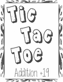 Printable Math Center Tic Tac Toe Addition Plus 19 File Folder Game Gray