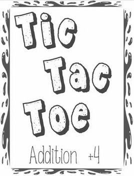 Printable Math Center Tic Tac Toe Addition Plus 4 File Folder Game Gray