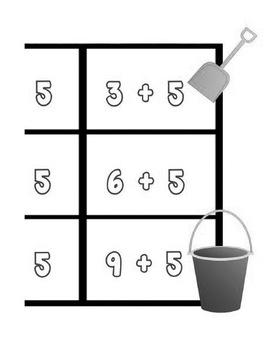 Printable Math Center Tic Tac Toe Addition Plus 5 File Folder Game Gray