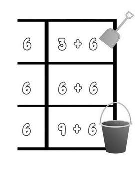 Printable Math Center Tic Tac Toe Addition Plus 6 File Folder Game Gray