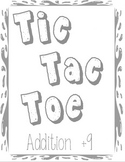 Printable Math Center Tic Tac Toe Addition Plus 9 File Folder Game Gray