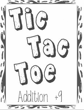 Printable Math Center Tic Tac Toe Addition Plus 9 File Folder Game Gray