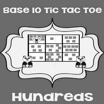 Printable Math Center Tic Tac Toe Base 10 Blocks -Hundreds File Folder Game Gray