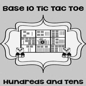 Printable Math Center Tic Tac Toe Base 10 Blocks - Hundreds & Tens Game Gray