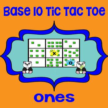 Printable Math Center Tic Tac Toe Base 10 Blocks - Ones File Folder Game