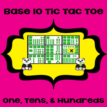 Printable Math Center Tic Tac Toe Base 10 Blocks - Ones, Tens, & Hundreds Game