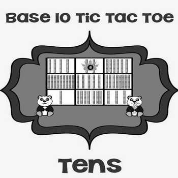 Printable Math Center Tic Tac Toe Base 10 Blocks - Tens File Folder Game Gray
