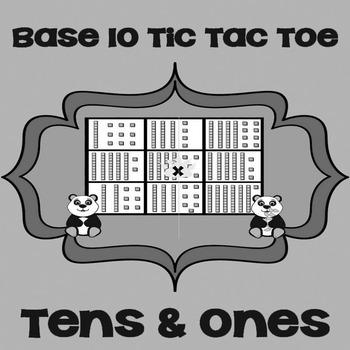 Printable Math Center Tic Tac Toe Base 10 Blocks - Tens & Ones Game Gray