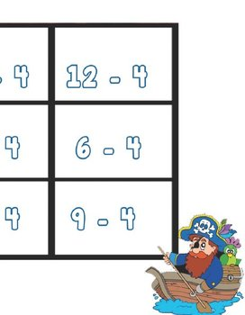 Printable Math Center Tic Tac Toe Subtraction  -0 to -10 File Folder Game