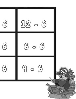 Printable Math Center Tic Tac Toe Subtraction  -0 to -10 File Folder Game Gray