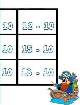 Printable Math Center Tic Tac Toe Subtraction Minus 10 File Folder Game