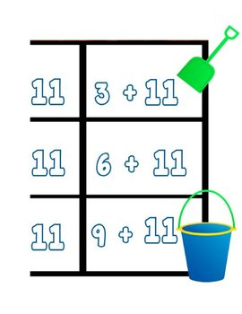 Printable Math Center Tic Tac Toe Addition Plus 11 File Folder Game